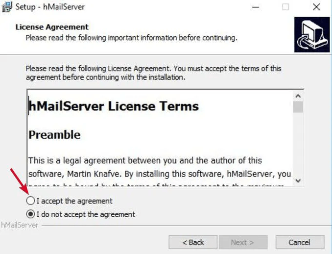 Accept The Terms to set up email server