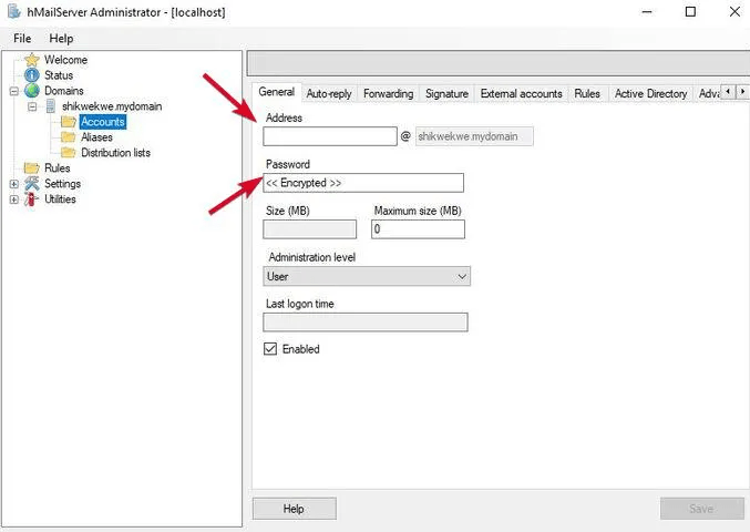 Address and Password Field To Set up Server