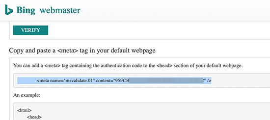 Bing HTML Tag Verification