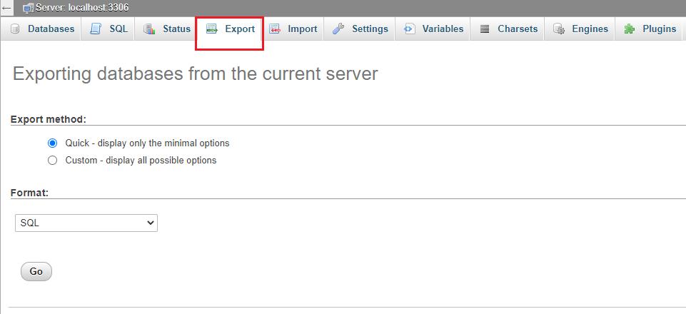 Export - Backup Website