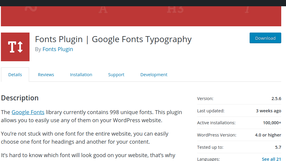 Fonts Plugin Google Typography