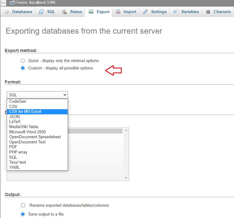 export WordPress Backup Database