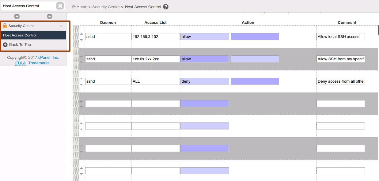 Configure Host Access Control