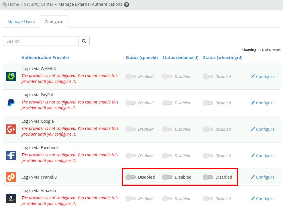 disable cPanel ID login