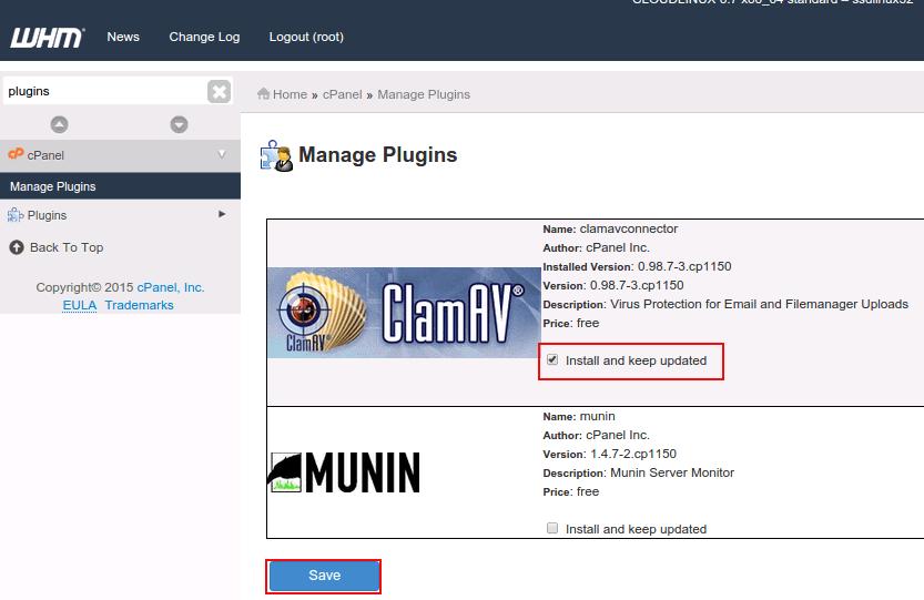 enable clamAV Antivirus plugin cpanel