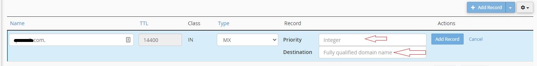 Add MX Record and Priority Destination