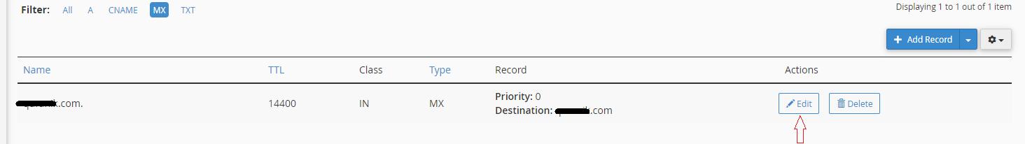 Edit MX Record