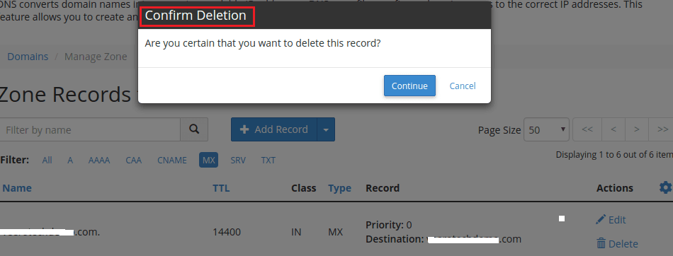 Deletion Of MX Record