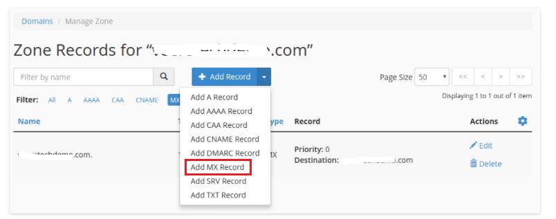 Zone Editor MX Record