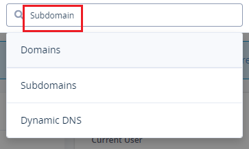 Search Subdomain To Create]