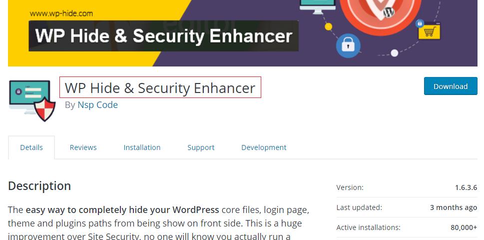 WP Hide & Security Enhancer WordPress security plugin